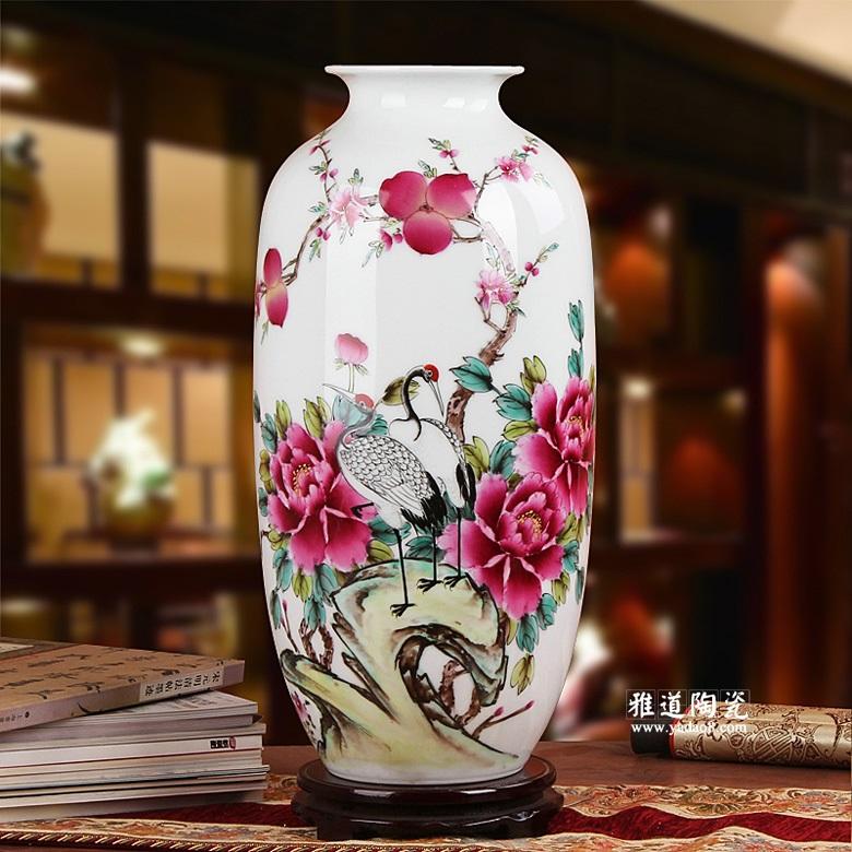 景德镇夏国安手绘高档花瓶(富贵长寿)