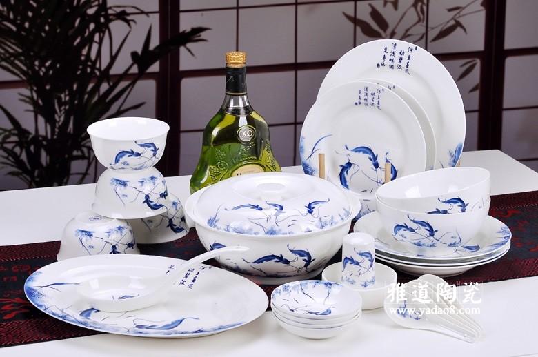 景德镇礼品餐具套装年年有余骨瓷餐具