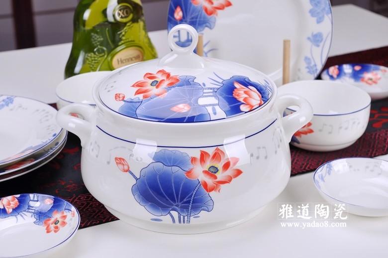 景德镇56头高档骨瓷餐具(音乐荷花)