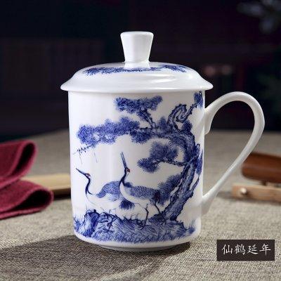 中式茶杯 松鹤延年