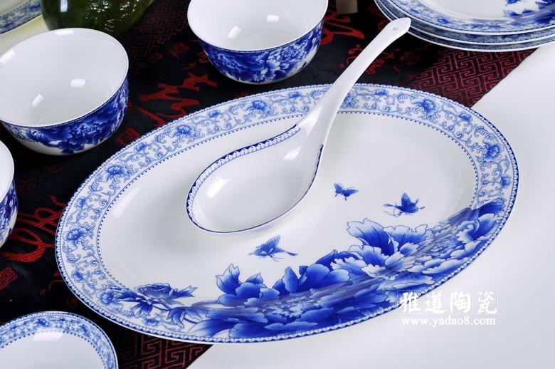 景德镇陶瓷蝴蝶牡丹中式56头餐具套装