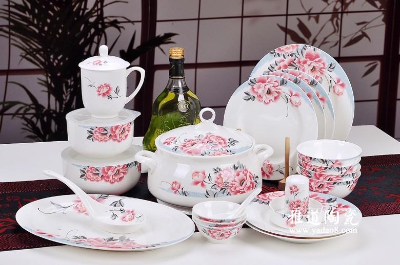 景德镇高档礼品陶瓷餐具套装 富贵红