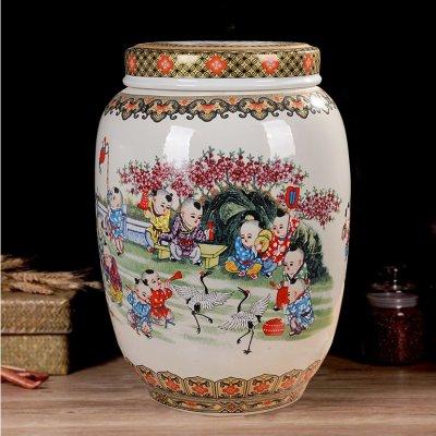 景德镇陶瓷带盖米坛储物罐 童子闹春