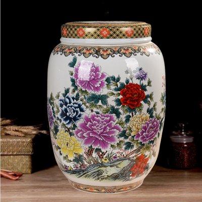 景德镇陶瓷高档储物罐米缸 国色天香