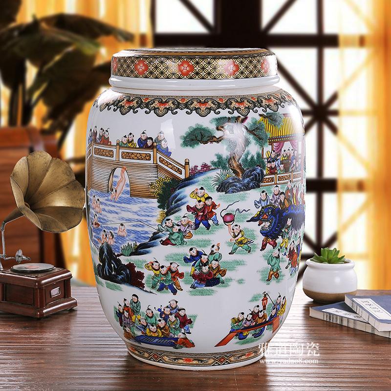 景德镇陶瓷米桶米缸储物罐 百子图