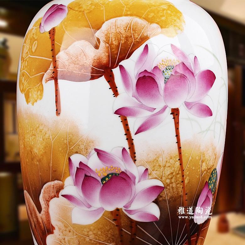 陶瓷工艺品花瓶 名家俞金喜作品 手绘荷花