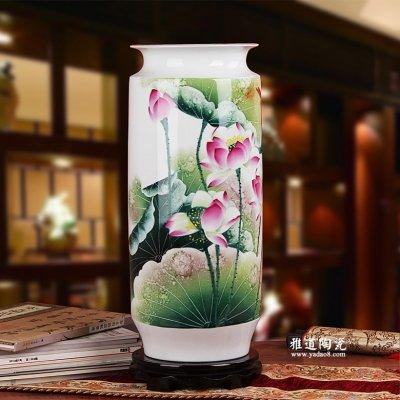 景德镇手绘陶瓷花瓶 俞金喜作品 荷韵