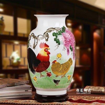 陶瓷工艺品花瓶 名家手绘花瓶 全家福