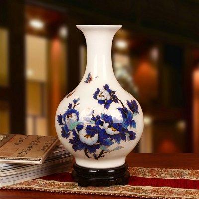 景德镇麦秆花瓶 金丝白底蓝牡丹工艺摆件