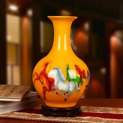 金丝麦秆工艺品 黄色五骏图马花瓶
