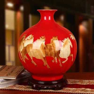 红色麦秆石榴花瓶 开业送礼装饰摆件