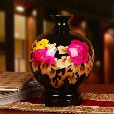 黑色麦秆工艺品 花开富贵陶瓷花瓶
