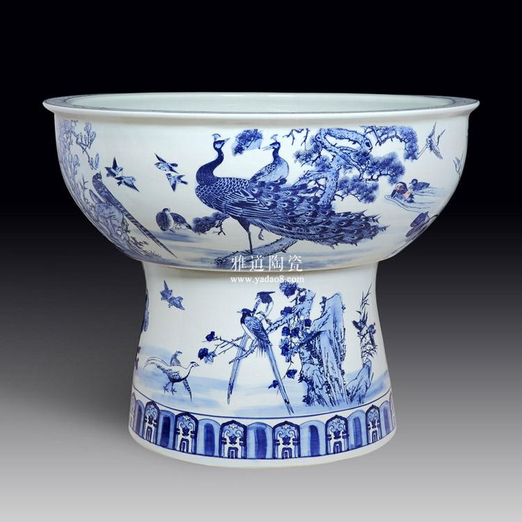 景德镇手绘陶瓷荷花大缸-正面