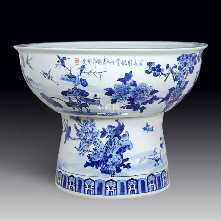 景德镇手绘陶瓷荷花大缸-反面