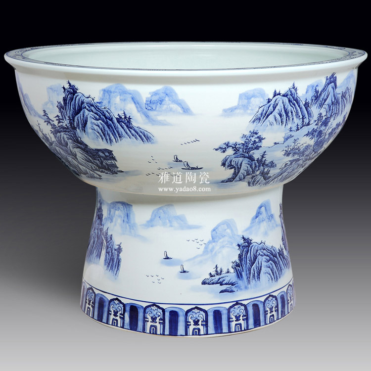 景德镇青花陶瓷大浅缸