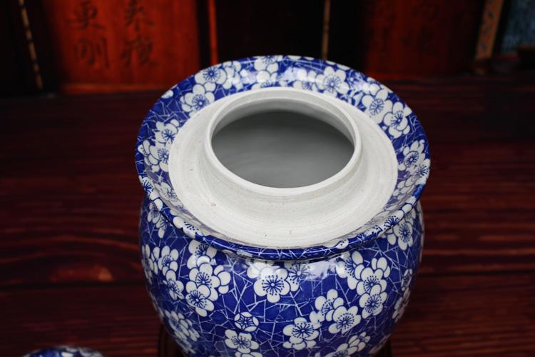 景德镇青花陶瓷泡菜坛子梅花图-口沿图