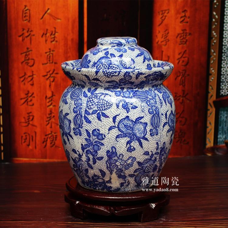 景德镇陶瓷泡菜坛-水果满园图