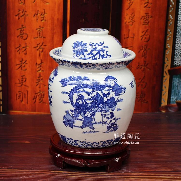 陶瓷腌菜坛子-景德镇青花百子图