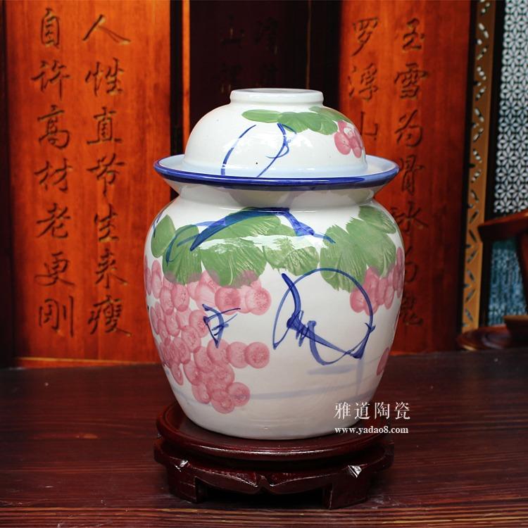 小号陶瓷泡菜坛子-侧面图