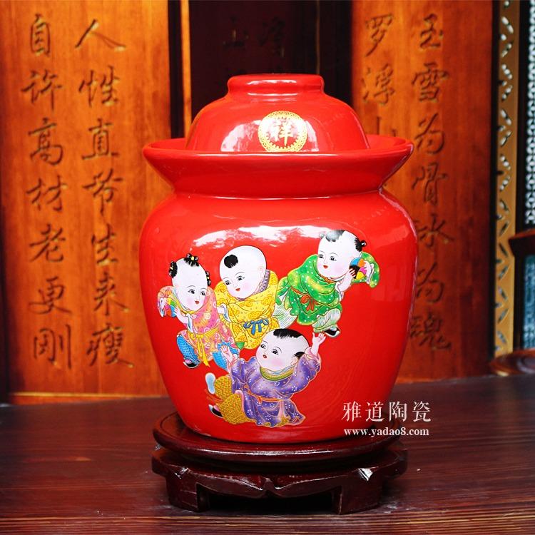 中国红陶瓷泡菜坛子-童子闹春