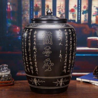 景德镇陶瓷米缸-黑釉雕刻兰亭集序