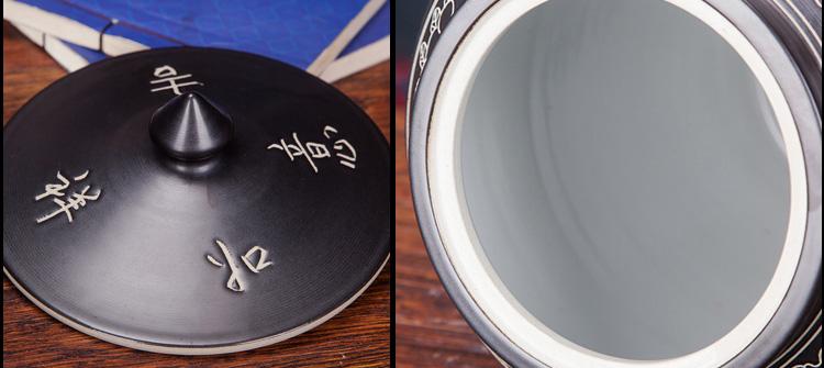 景德镇陶瓷米缸-黑釉雕刻兰亭集序-细节
