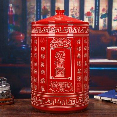 大红色陶瓷米坛-添福图