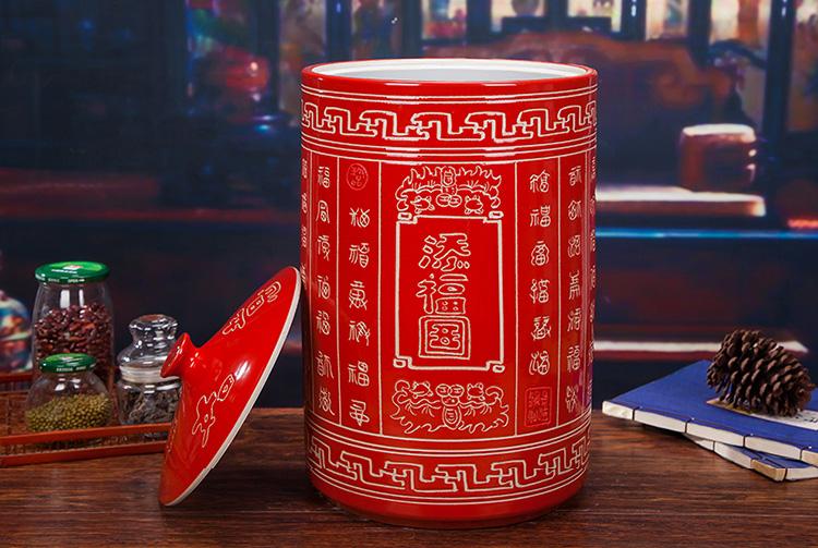 大红色陶瓷米坛-带盖图