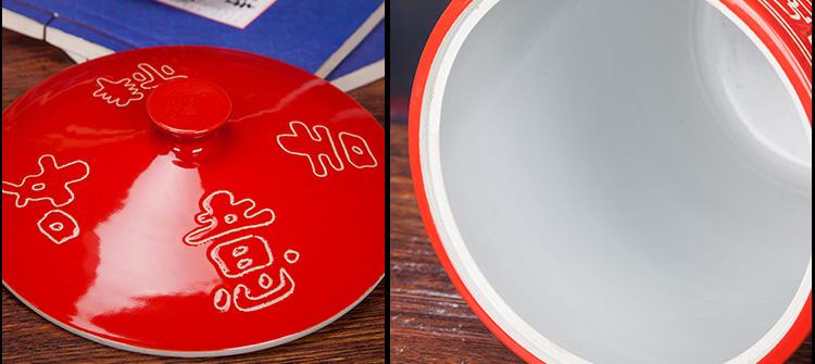 大红色陶瓷米坛-细节图