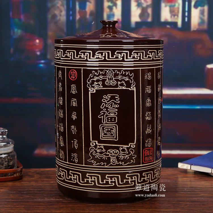 咖啡色陶瓷米坛-正面