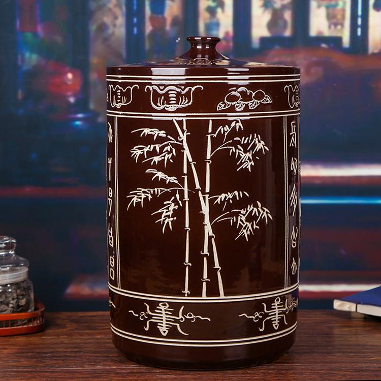 30斤陶瓷米坛-背面图