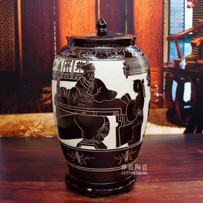 景德镇陶瓷米缸米桶-雕刻人物