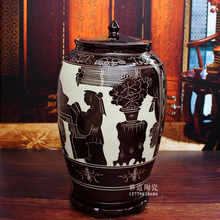 景德镇陶瓷米缸米桶-侧面