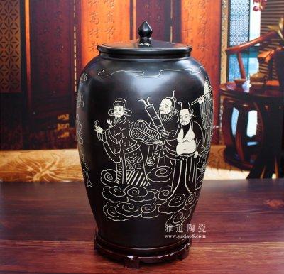 陶瓷带盖米缸储米罐子-八仙庆寿