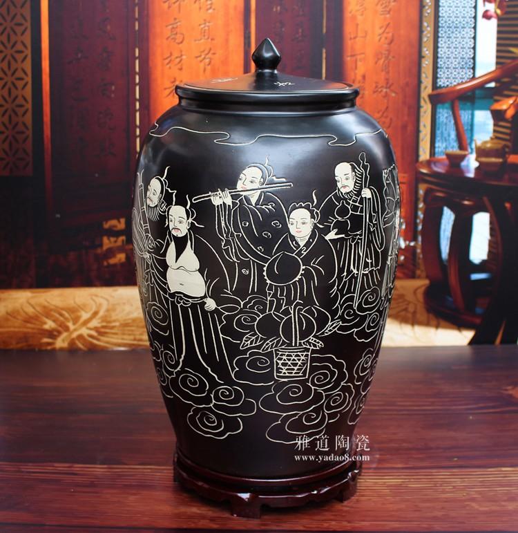 陶瓷带盖米缸储米罐子-侧面
