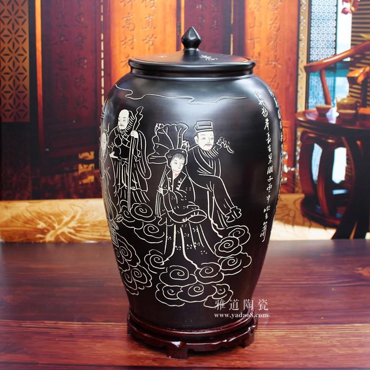 陶瓷带盖米缸储米罐子-侧面2