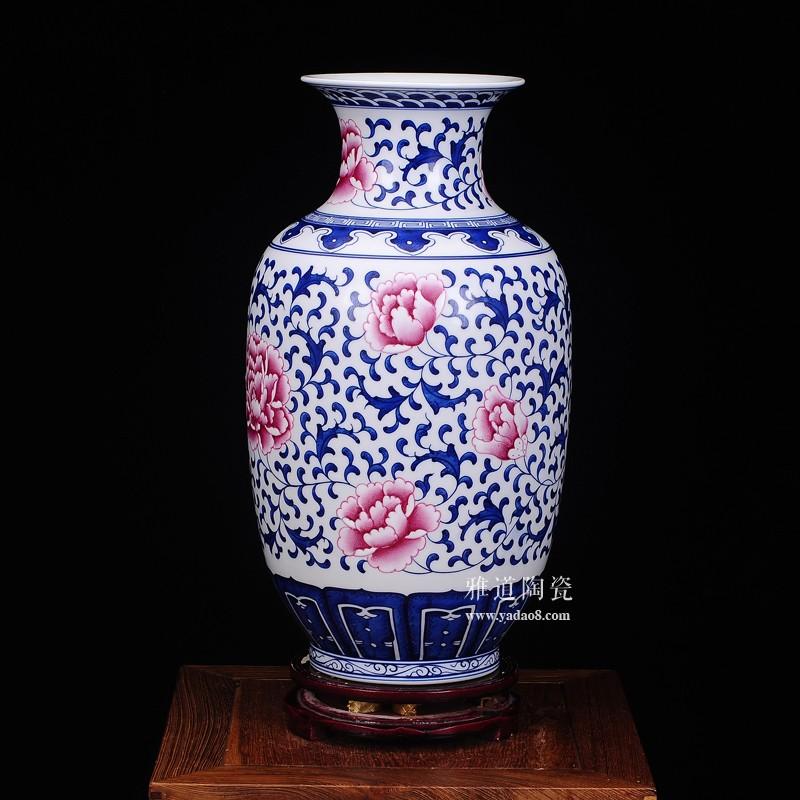 景德镇斗彩仿古花瓶摆件冬瓜瓶