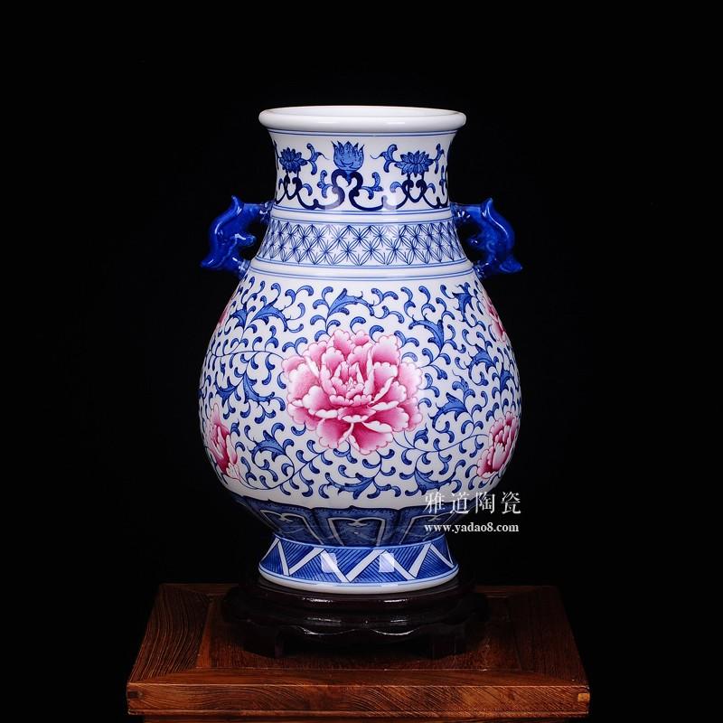景德镇瓷器青花釉里红福禄瓶