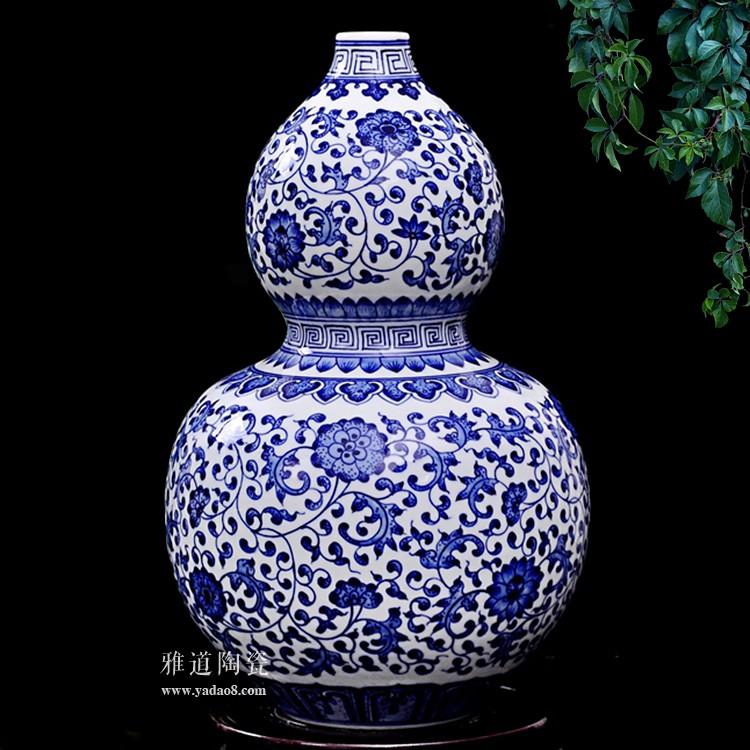 景德镇陶瓷康熙款仿古青花葫芦瓶