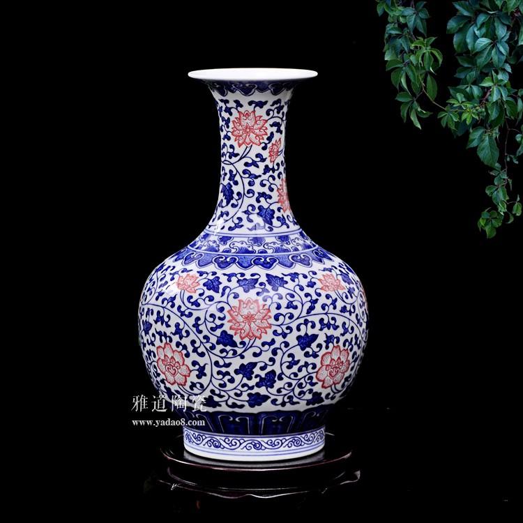 景德镇陶瓷康熙款青花釉里红赏瓶