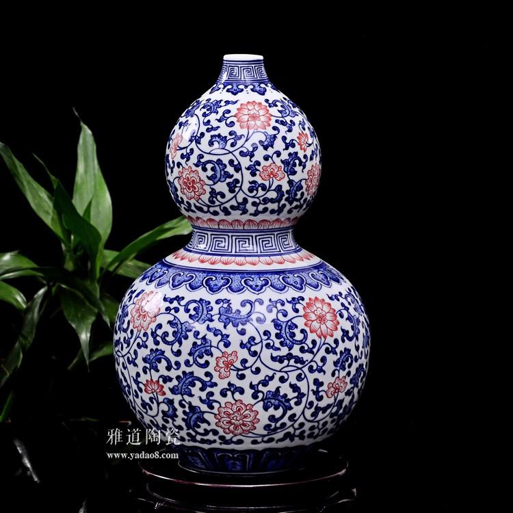 景德镇瓷器青花釉里红葫芦瓶-侧面
