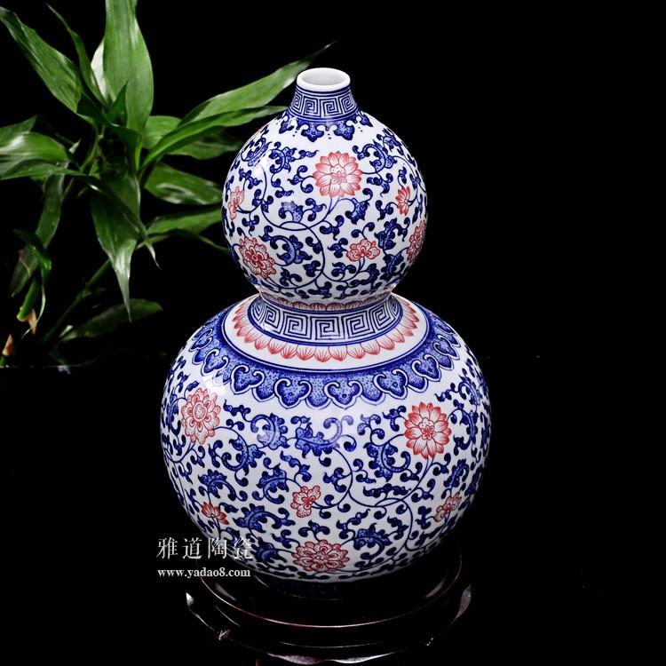 景德镇瓷器青花釉里红葫芦瓶-背面