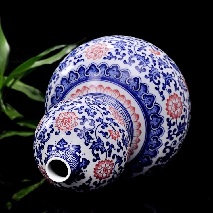景德镇瓷器青花釉里红葫芦瓶-瓶口