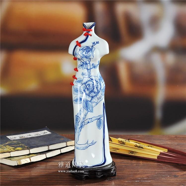 景德镇陶瓷创意旗袍美女陶瓷花瓶-梅花款