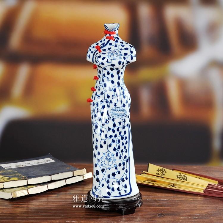 景德镇陶瓷创意旗袍美女陶瓷花瓶-小碎花款