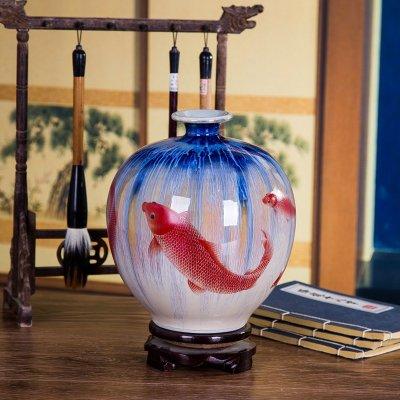 景德镇瓷器特色窑变山水裂纹釉花瓶