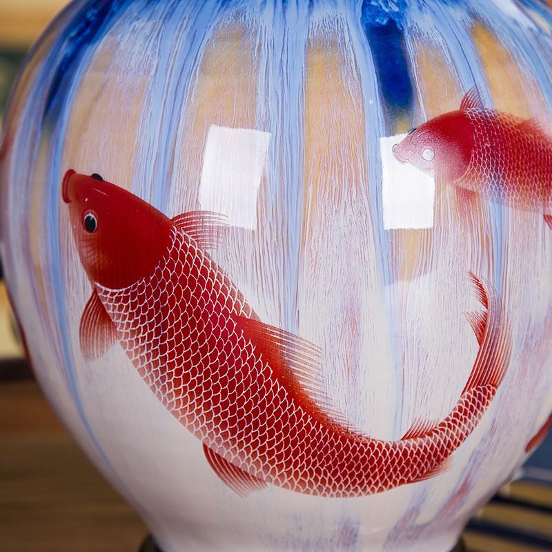 景德镇瓷器特色窑变山水裂纹釉花瓶-细节图