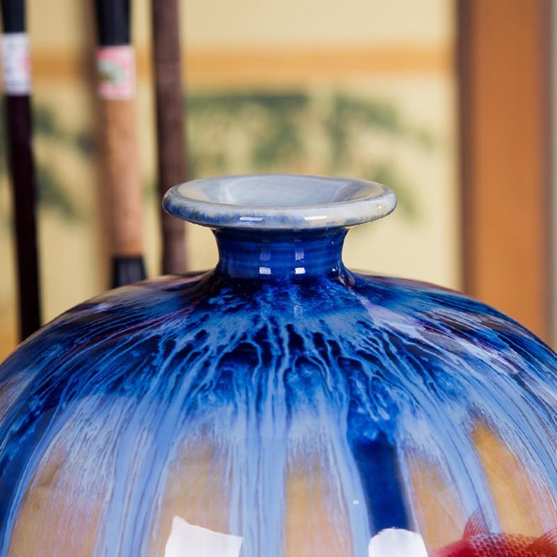 景德镇瓷器特色窑变山水裂纹釉花瓶-瓶口