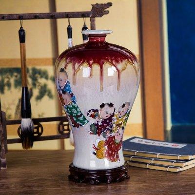 景德镇吉祥如意窑变裂纹陶瓷花瓶