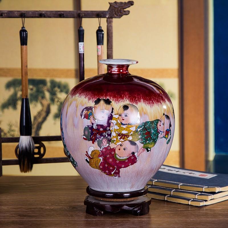 景德镇吉祥如意窑变裂纹陶瓷花瓶-石榴瓶款